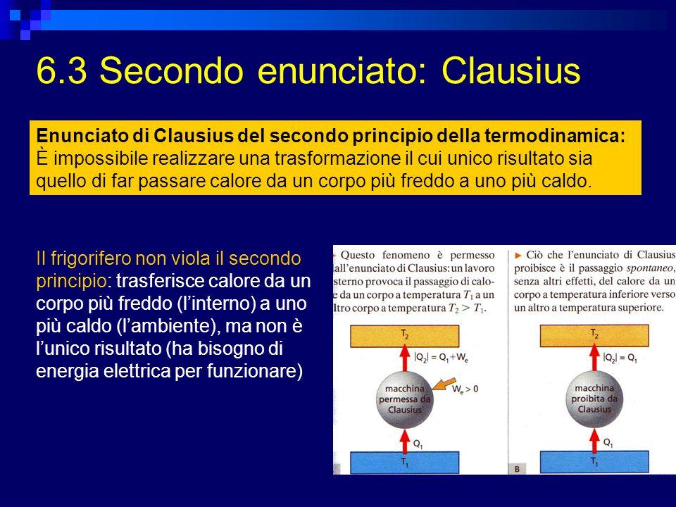 6.3 Secondo enunciato: Clausius