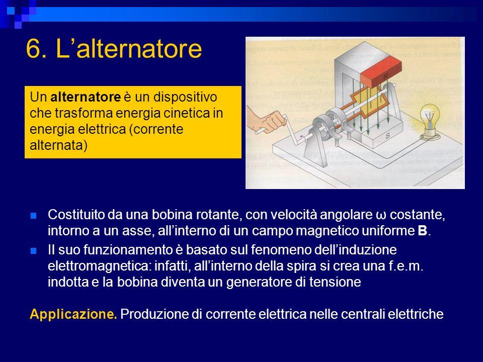 6. L'alternatore Un alternatore è un dispositivo che trasforma energia cinetica in energia elettrica (corrente alternata)