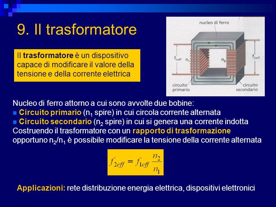 9. Il trasformatore Il trasformatore è un dispositivo capace di modificare il valore della tensione e della corrente elettrica.