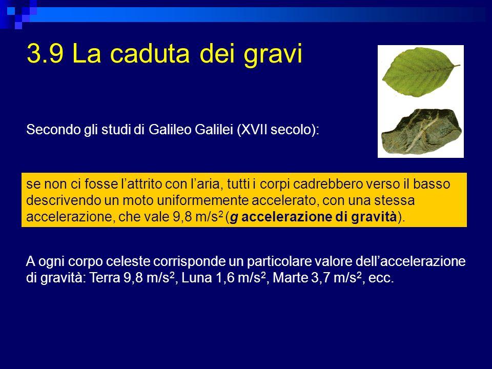 3.9 La caduta dei gravi Secondo gli studi di Galileo Galilei (XVII secolo):