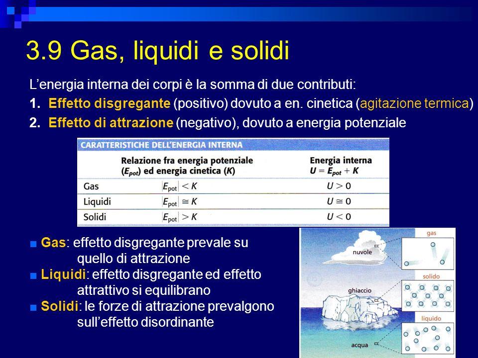 3.9 Gas, liquidi e solidi L'energia interna dei corpi è la somma di due contributi: