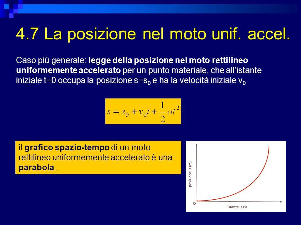 4.7 La posizione nel moto unif. accel.