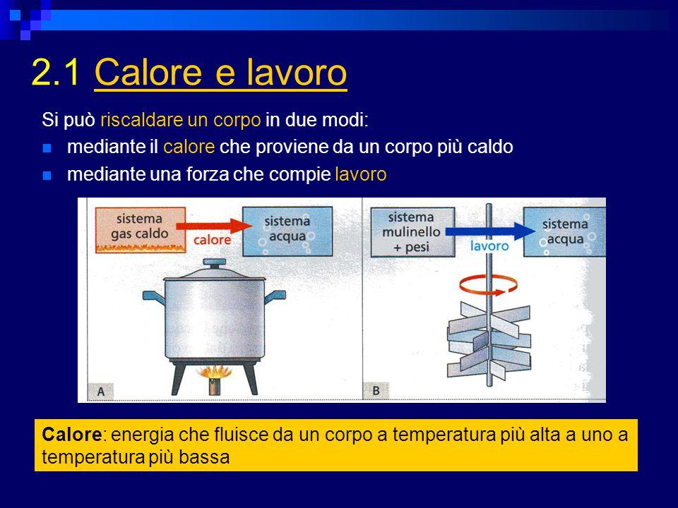 2.1 Calore e lavoro Si può riscaldare un corpo in due modi: