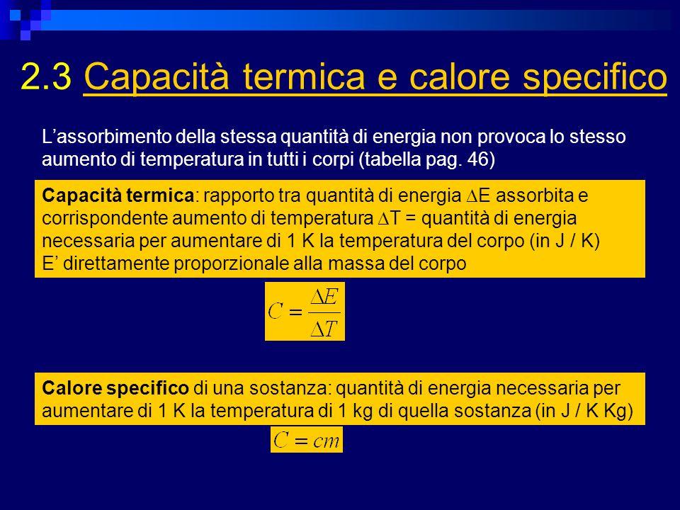 2.3 Capacità termica e calore specifico