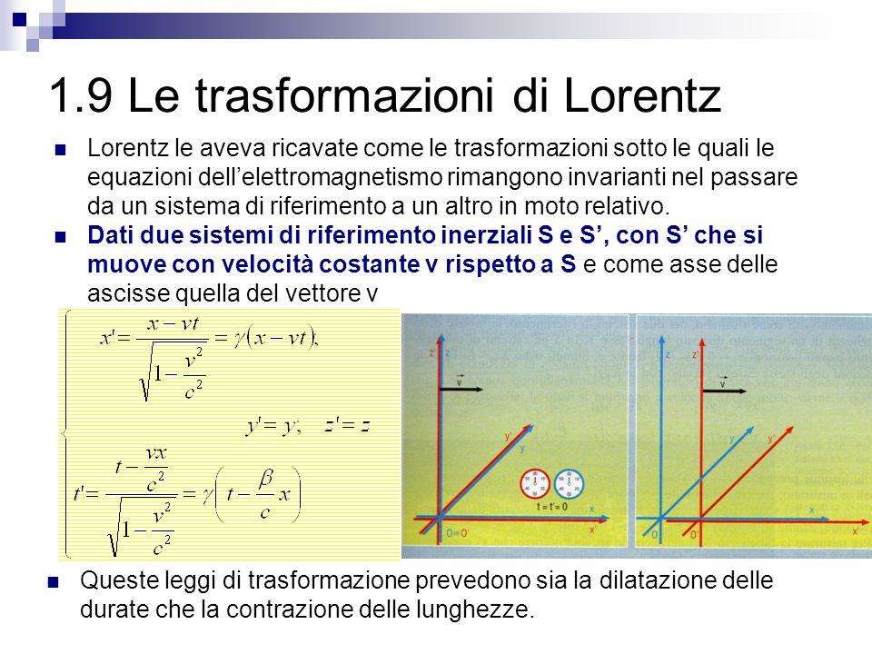 1.9 Le trasformazioni di Lorentz