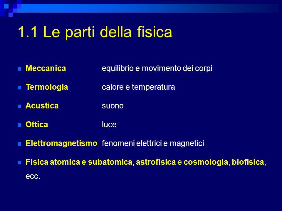 1.1 Le parti della fisica Meccanica equilibrio e movimento dei corpi