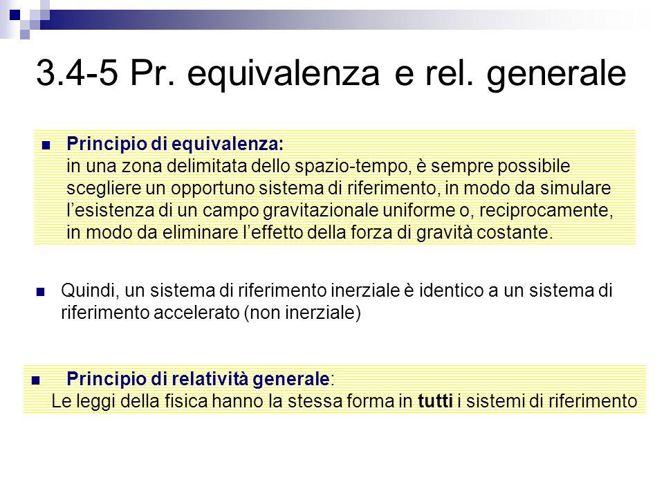 3.4-5 Pr. equivalenza e rel. generale