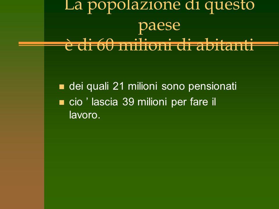 La popolazione di questo paese è di 60 milioni di abitanti
