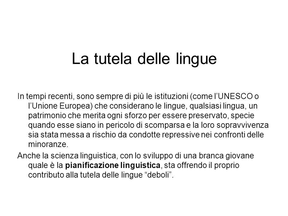 La tutela delle lingue