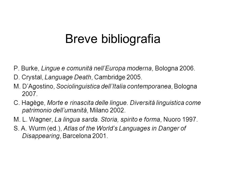 Breve bibliografia P. Burke, Lingue e comunità nell'Europa moderna, Bologna 2006. D. Crystal, Language Death, Cambridge 2005.