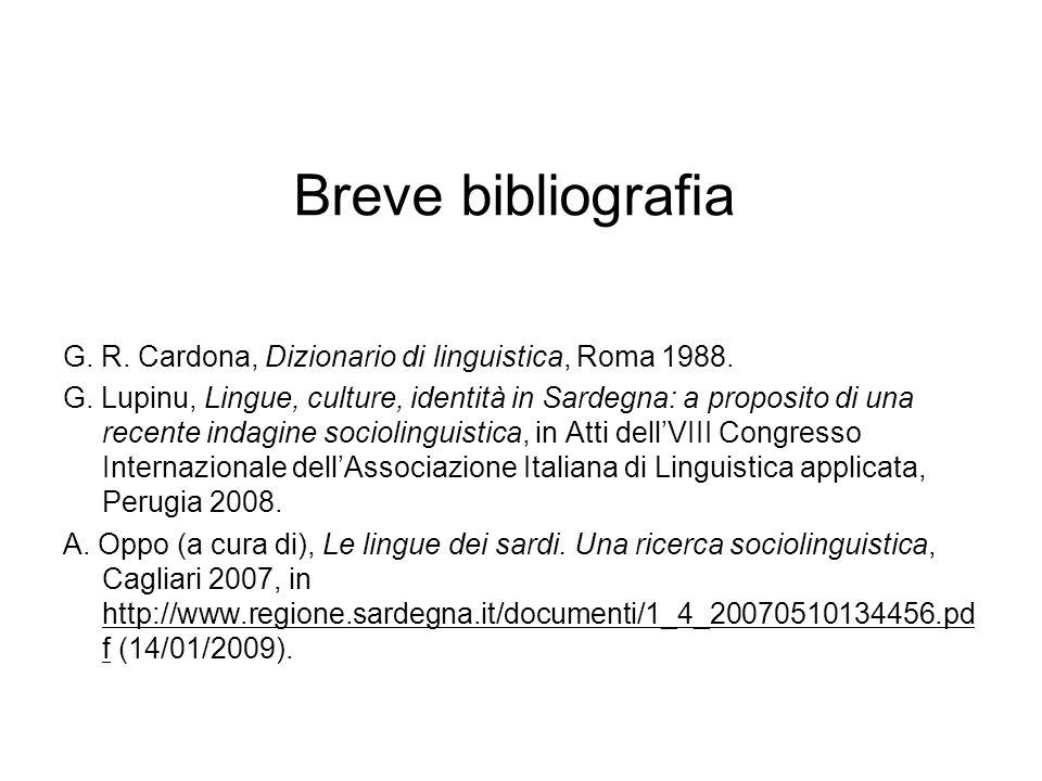 Breve bibliografia G. R. Cardona, Dizionario di linguistica, Roma 1988.
