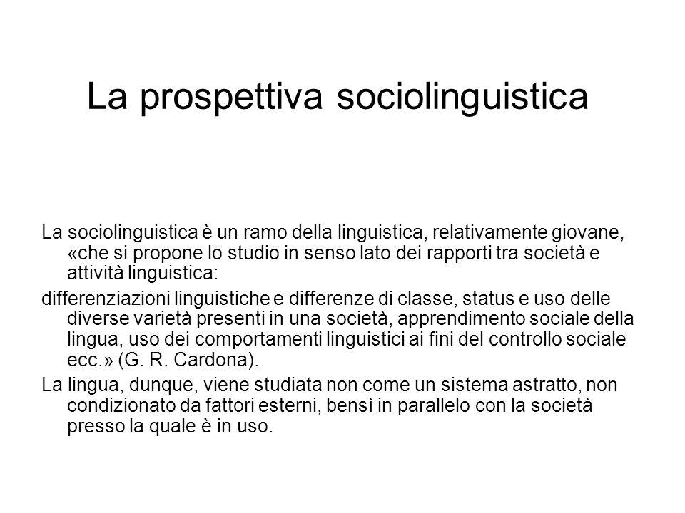La prospettiva sociolinguistica