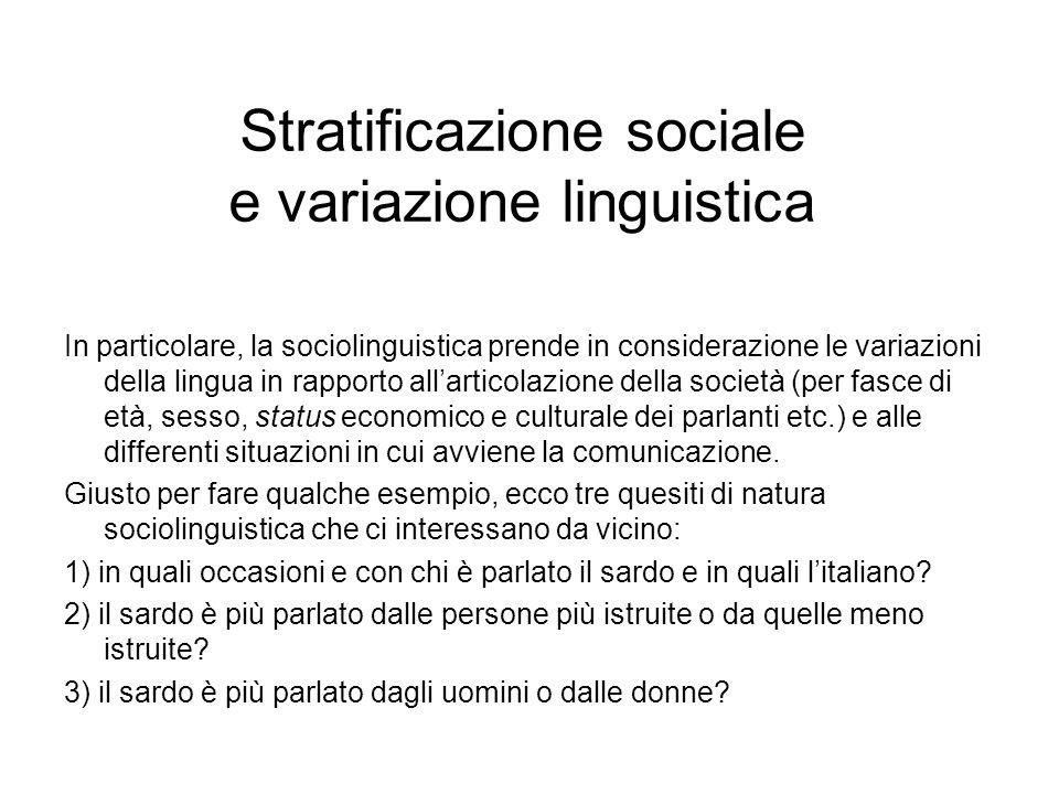 Stratificazione sociale e variazione linguistica