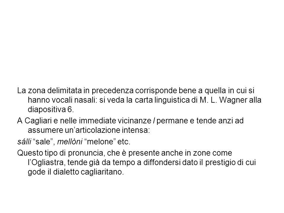 La zona delimitata in precedenza corrisponde bene a quella in cui si hanno vocali nasali: si veda la carta linguistica di M. L. Wagner alla diapositiva 6.