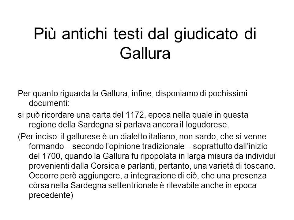 Più antichi testi dal giudicato di Gallura