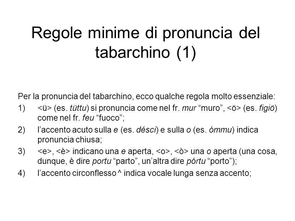 Regole minime di pronuncia del tabarchino (1)