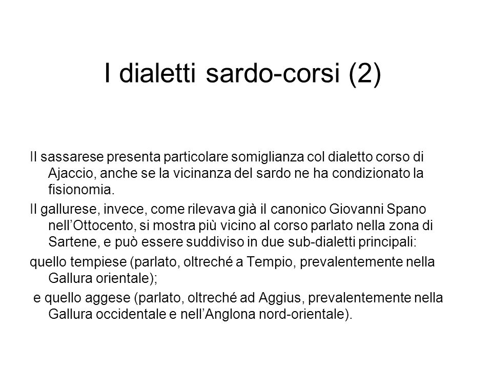 I dialetti sardo-corsi (2)