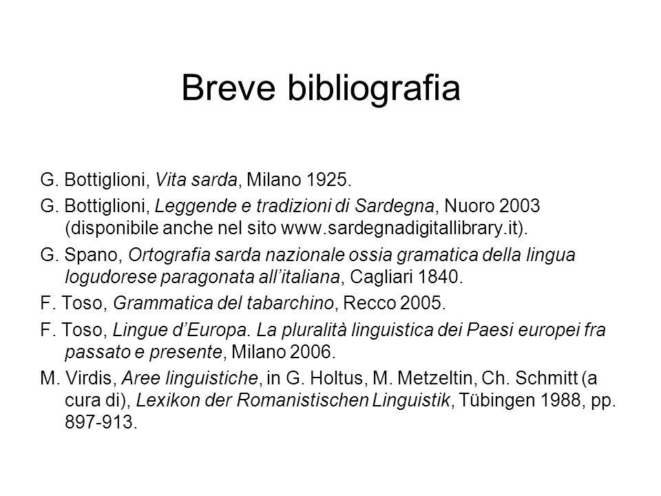 Breve bibliografia G. Bottiglioni, Vita sarda, Milano 1925.