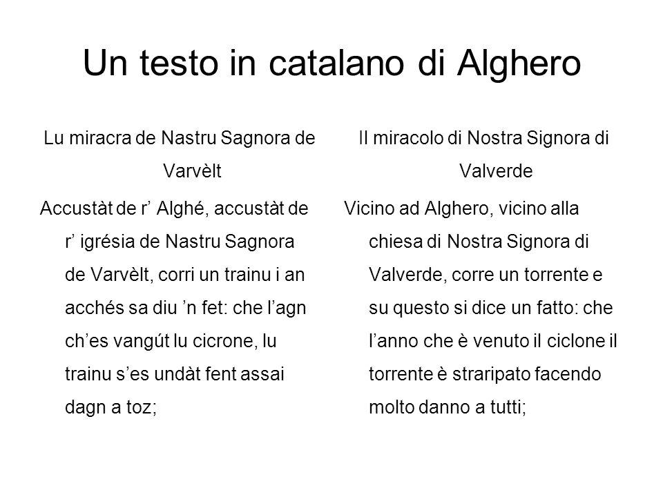 Un testo in catalano di Alghero