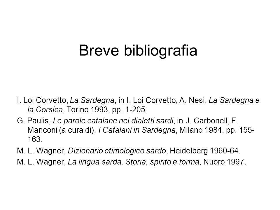 Breve bibliografia I. Loi Corvetto, La Sardegna, in I. Loi Corvetto, A. Nesi, La Sardegna e la Corsica, Torino 1993, pp. 1-205.