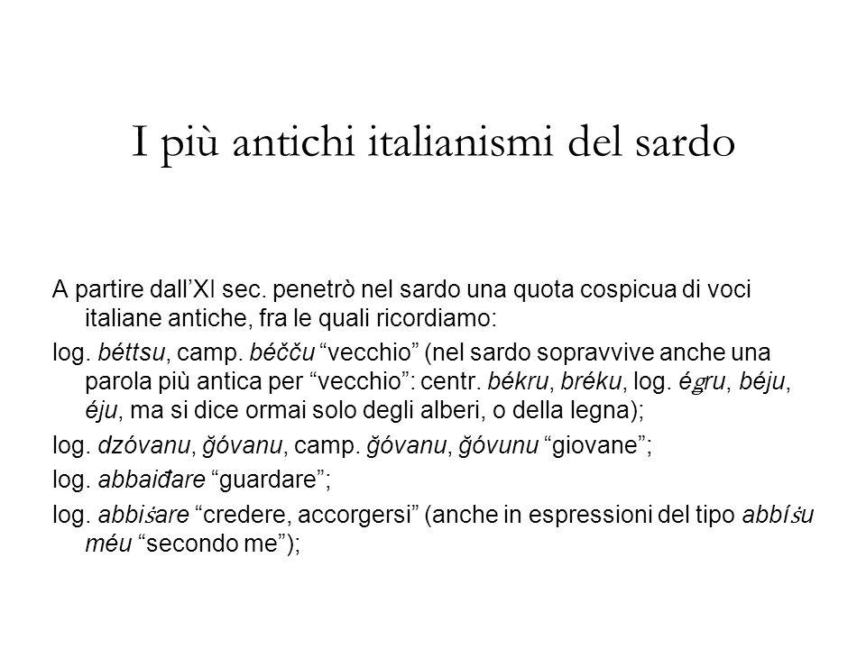 I più antichi italianismi del sardo