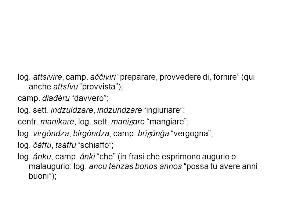 log. attsivire, camp. aččiviri preparare, provvedere di, fornire (qui anche attsívu provvista );