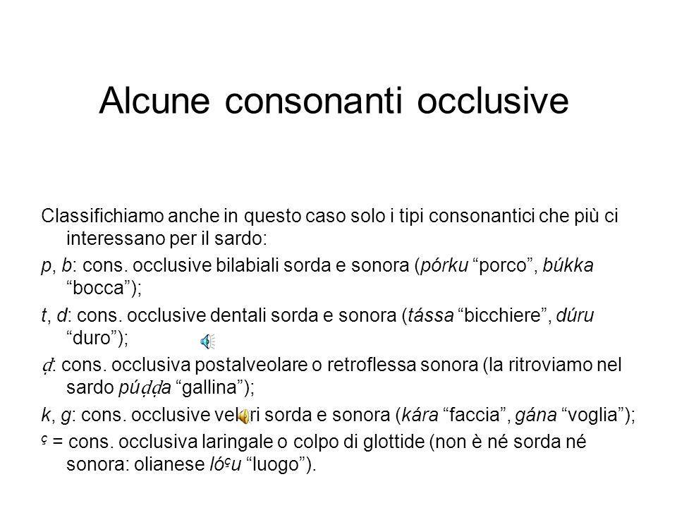 Alcune consonanti occlusive