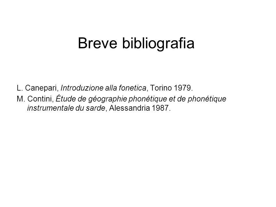 Breve bibliografia L. Canepari, Introduzione alla fonetica, Torino 1979.