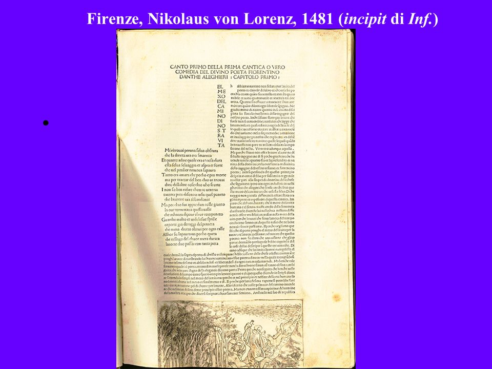 Firenze, Nikolaus von Lorenz, 1481 (incipit di Inf.)