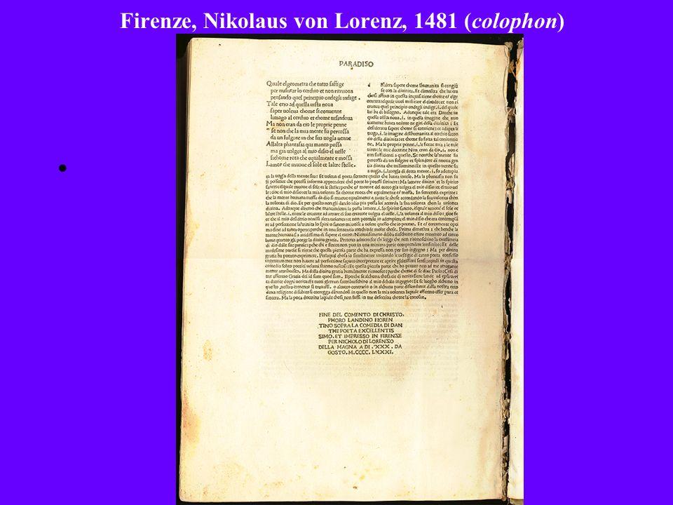Firenze, Nikolaus von Lorenz, 1481 (colophon)