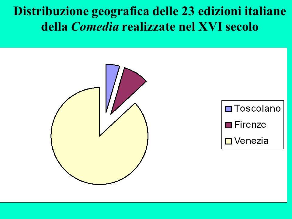 Distribuzione geografica delle 23 edizioni italiane della Comedìa realizzate nel XVI secolo