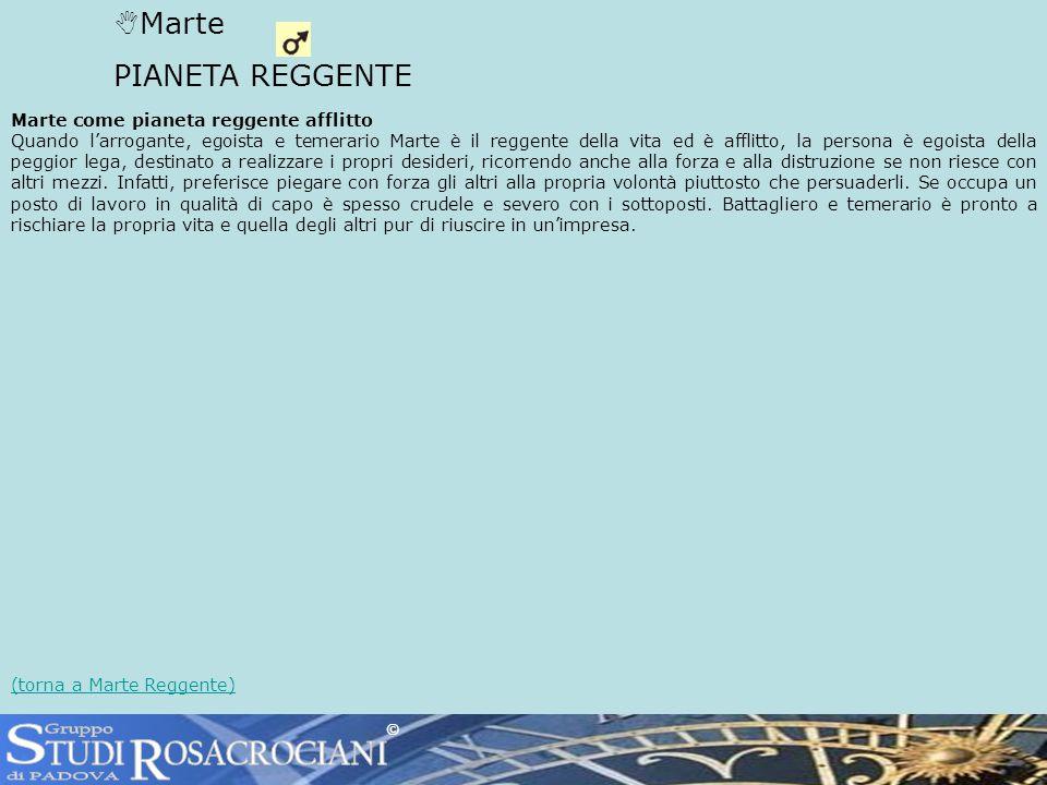 S R TUDI OSACROCIANI Marte PIANETA REGGENTE Gruppo di PADOVA