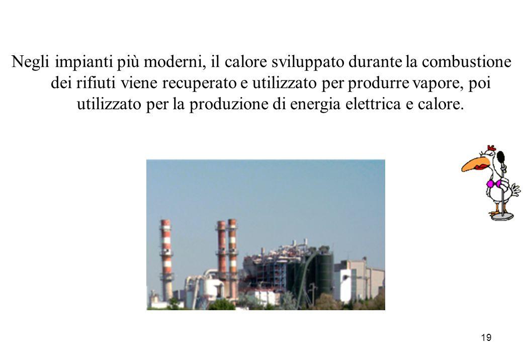 Negli impianti più moderni, il calore sviluppato durante la combustione dei rifiuti viene recuperato e utilizzato per produrre vapore, poi utilizzato per la produzione di energia elettrica e calore.
