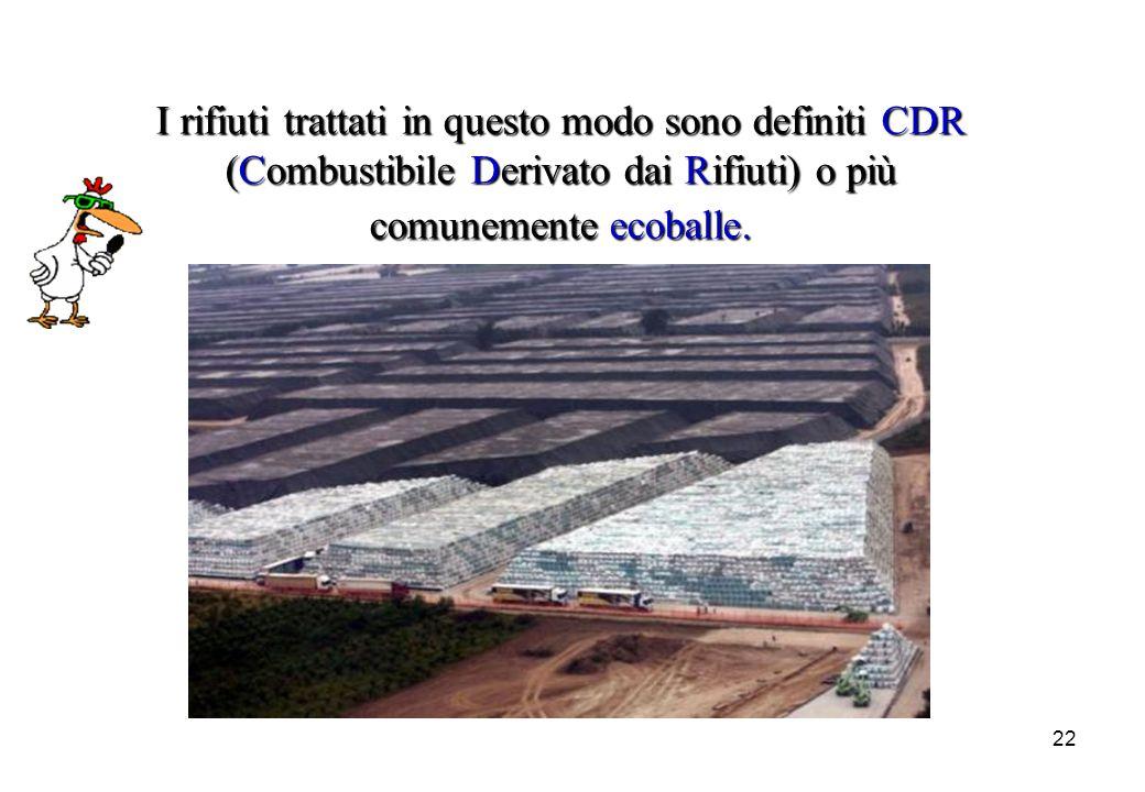 I rifiuti trattati in questo modo sono definiti CDR (Combustibile Derivato dai Rifiuti) o più comunemente ecoballe.