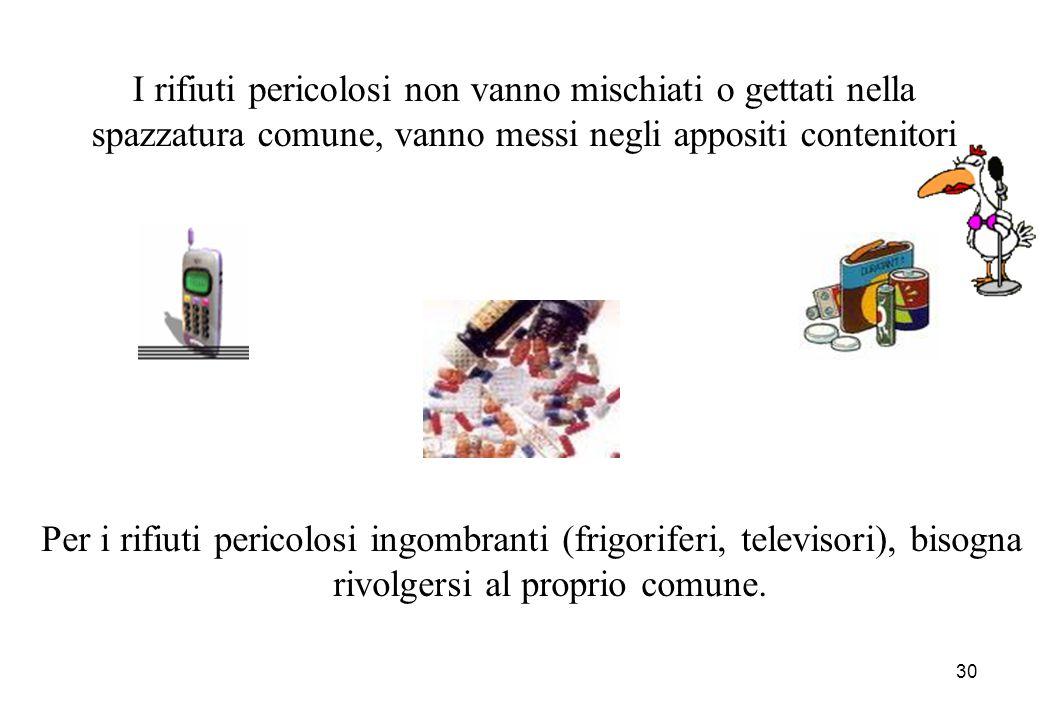 I rifiuti pericolosi non vanno mischiati o gettati nella spazzatura comune, vanno messi negli appositi contenitori
