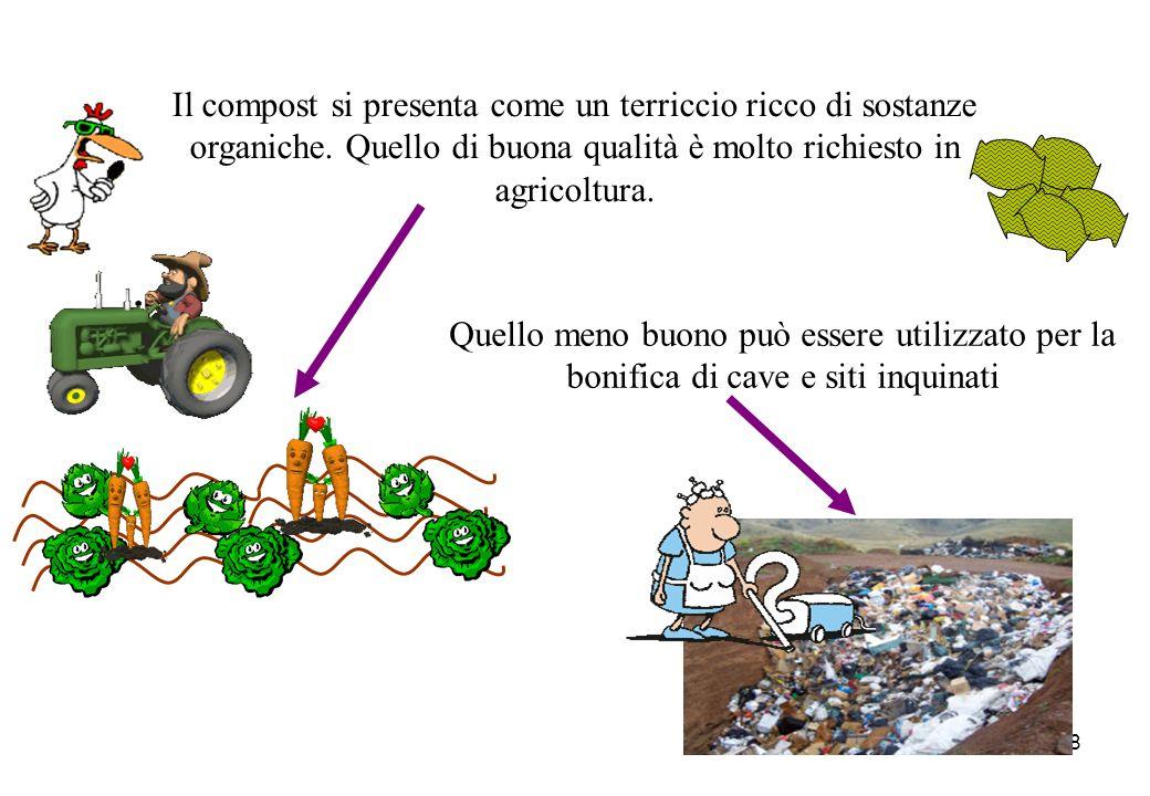 Il compost si presenta come un terriccio ricco di sostanze organiche