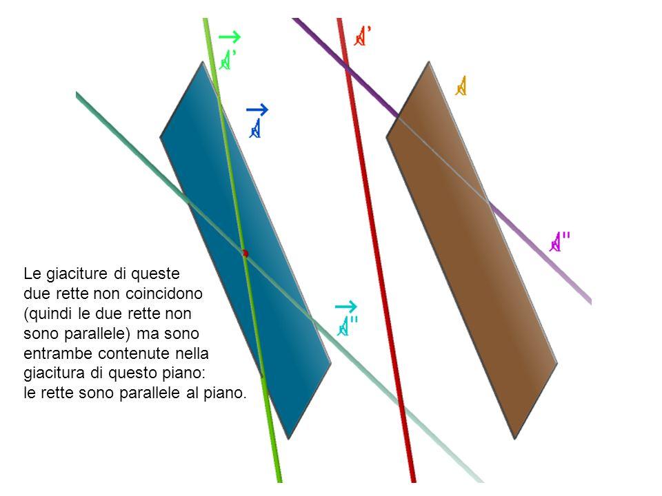 Le giaciture di queste due rette non coincidono. (quindi le due rette non. sono parallele) ma sono.