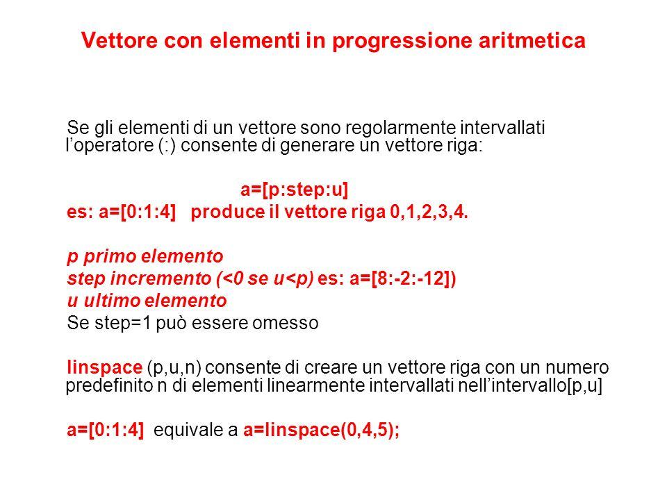 Vettore con elementi in progressione aritmetica