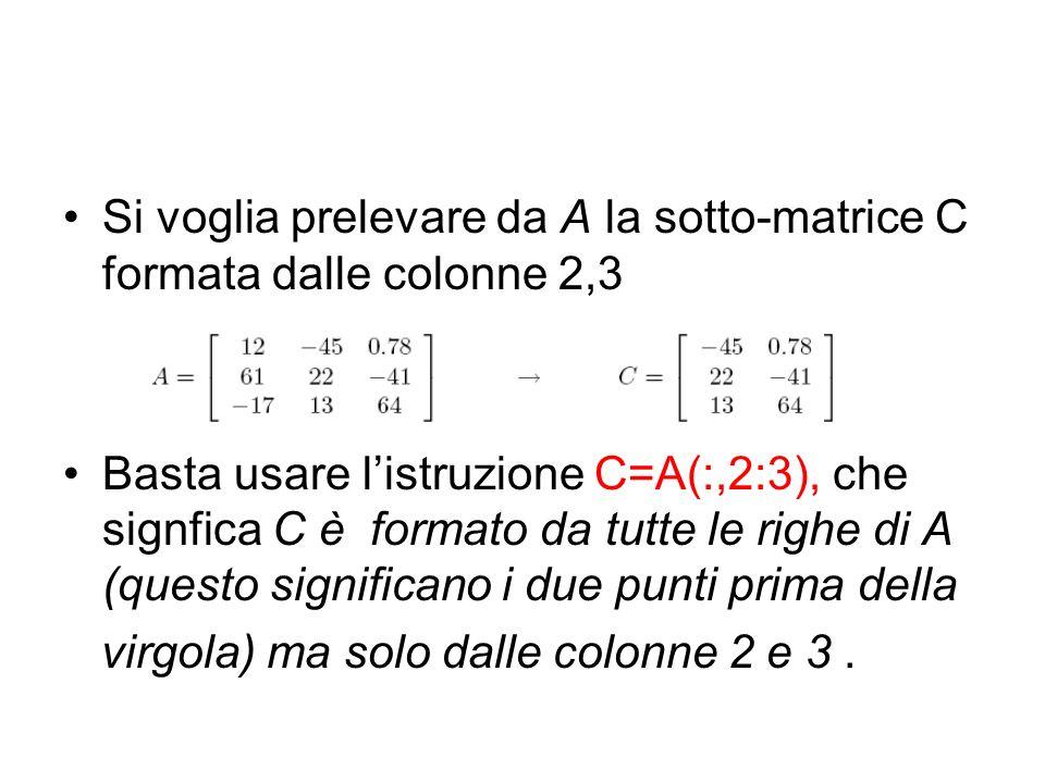 Si voglia prelevare da A la sotto-matrice C formata dalle colonne 2,3