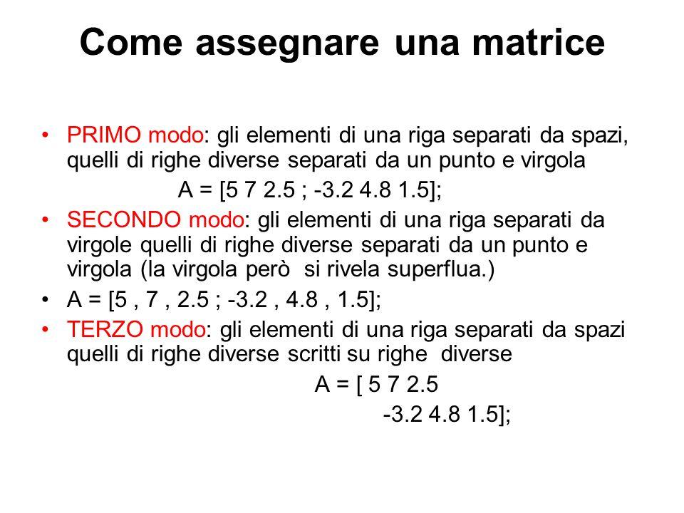 Come assegnare una matrice