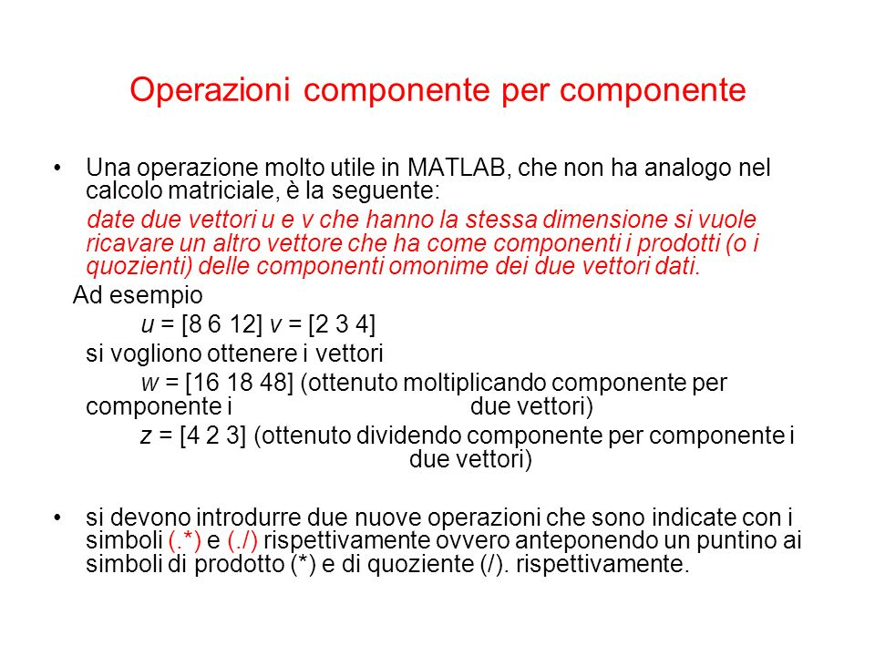 Operazioni componente per componente
