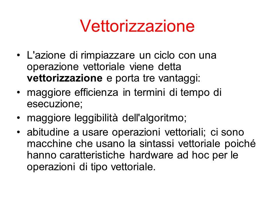 Vettorizzazione L azione di rimpiazzare un ciclo con una operazione vettoriale viene detta vettorizzazione e porta tre vantaggi: