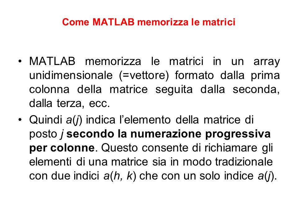 Come MATLAB memorizza le matrici