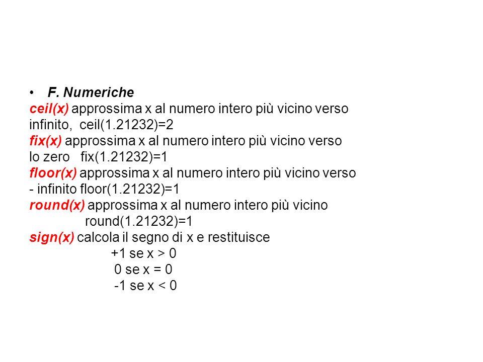 F. Numeriche ceil(x) approssima x al numero intero più vicino verso. infinito, ceil(1.21232)=2.