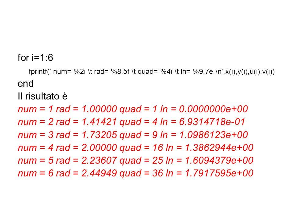 for i=1:6 fprintf(' num= %2i \t rad= %8.5f \t quad= %4i \t ln= %9.7e \n',x(i),y(i),u(i),v(i)) end.
