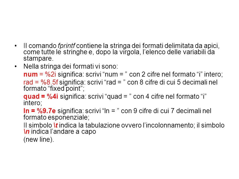 Il comando fprintf contiene la stringa dei formati delimitata da apici, come tutte le stringhe e, dopo la virgola, l'elenco delle variabili da stampare.