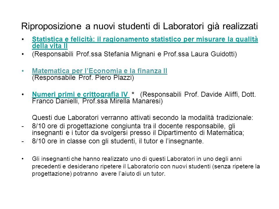 Riproposizione a nuovi studenti di Laboratori già realizzati