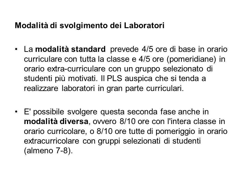 Modalità di svolgimento dei Laboratori
