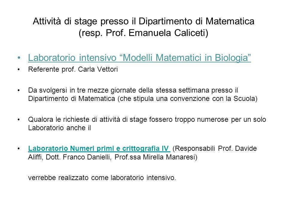 Laboratorio intensivo Modelli Matematici in Biologia