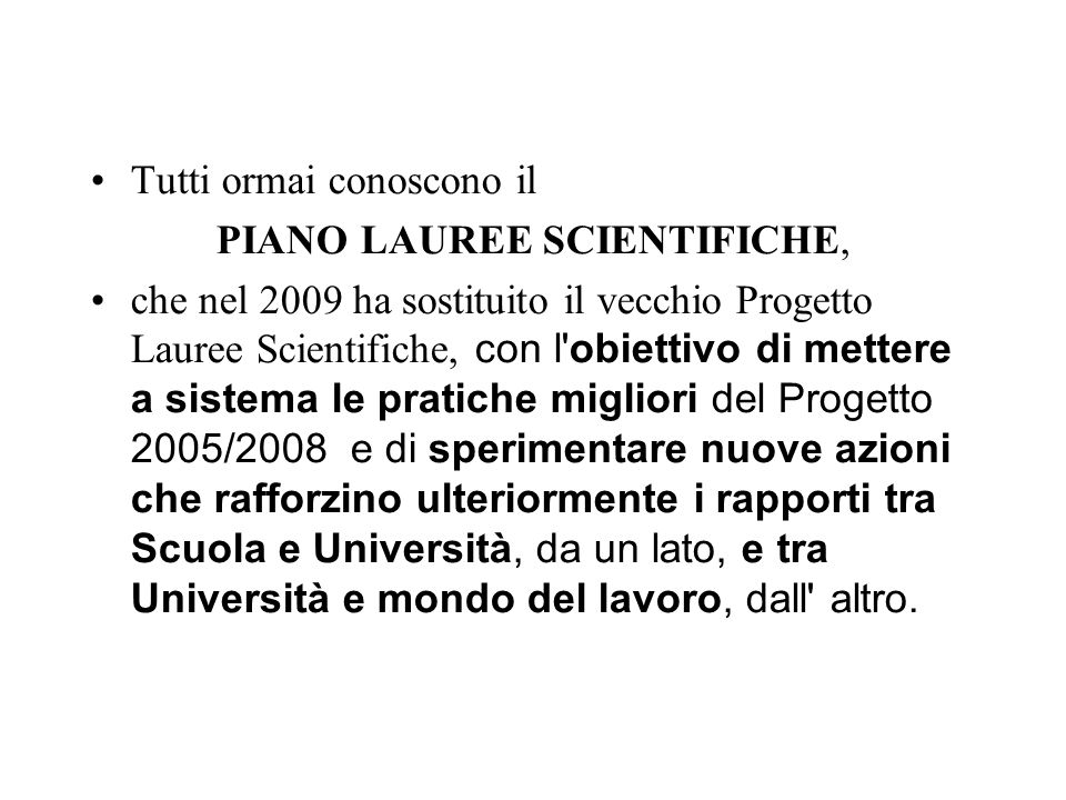 PIANO LAUREE SCIENTIFICHE,